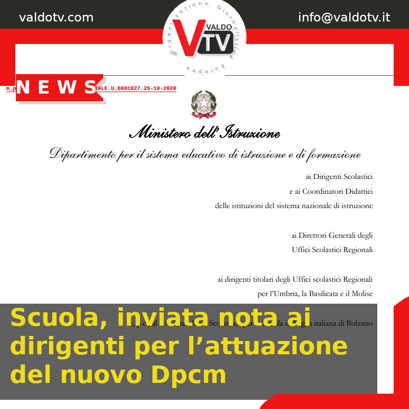 Scuola, inviata nota ai dirigenti per l'attuazione del nuovo Dpcm