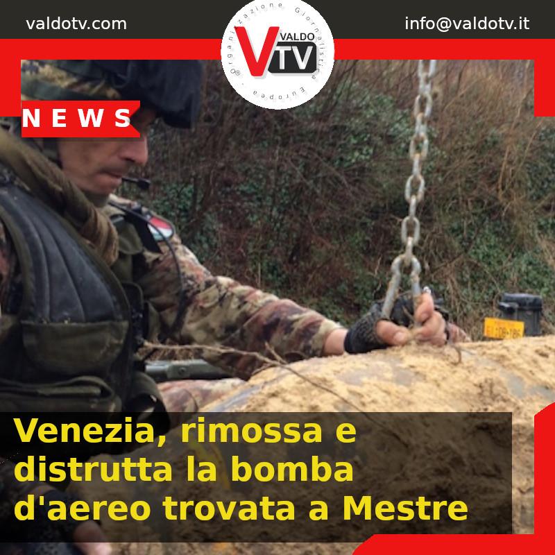 Venezia, rimossa e distrutta la bomba d'aereo trovata a Mestre