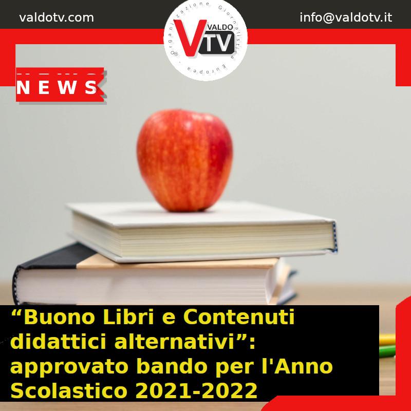 """""""Buono Libri e Contenuti didattici alternativi"""": approvato bando per l'Anno Scolastico 2021-2022"""